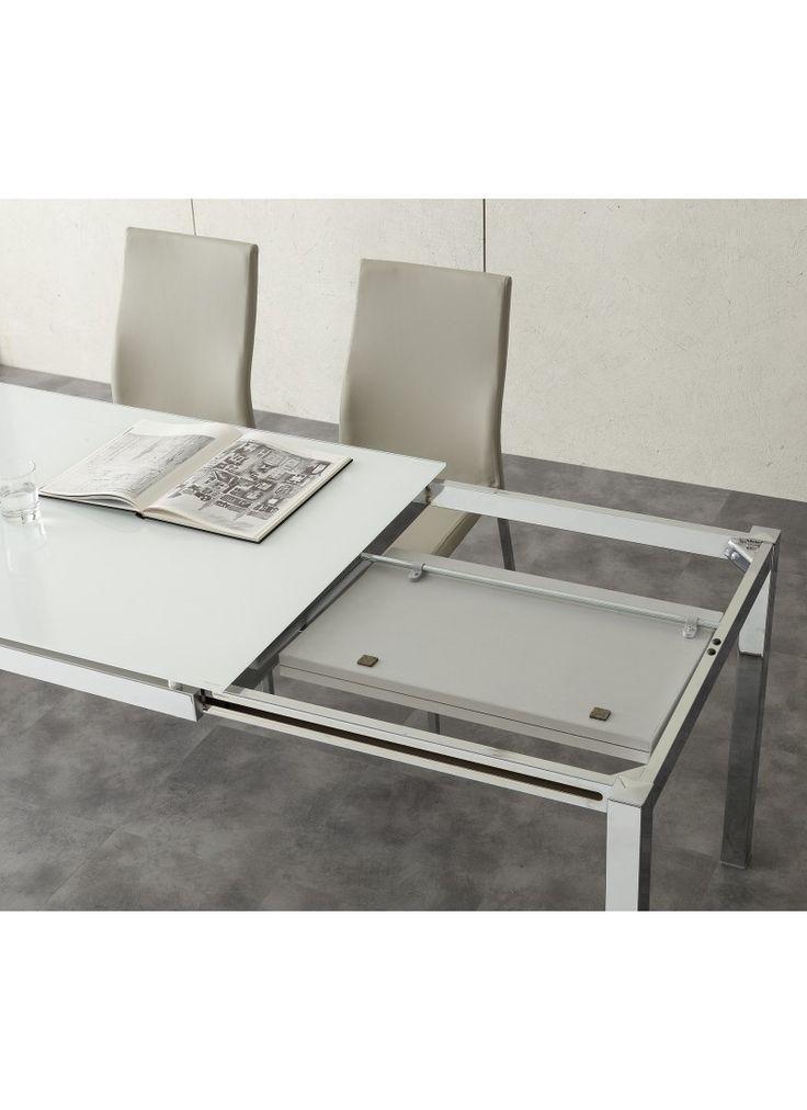 Tavolo in nobilitato tortora classico o vintage e struttura in metallo verniciato bianco tortora o cromato.