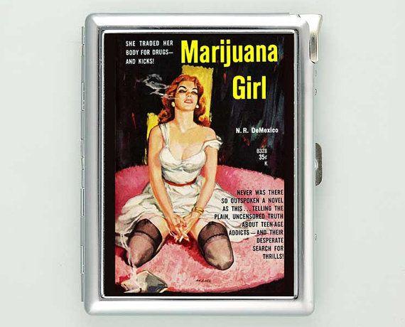 Pin Up Girl Marijuana Cigarette Case with Lighter Wallet Business Card Holder ***********************************  We sell only case & lighter. We do