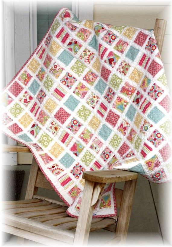 KIT Vintage Baby Quilt girl  Lizzie fabric by quilttaffy on Etsy