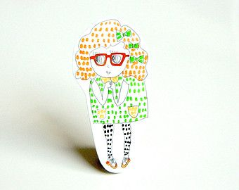 SALE // Shrink plastic brooch girl in green and red glasses
