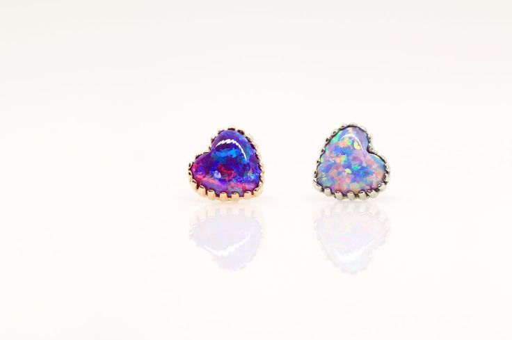 """tobiasxvallone: """"For those who don't already know, @anatometal reigns supreme at the top of the body jewelry world in my humble opinion. I've been itching to play with these heart-set opal ends since they came out a little while ago. Look at how that..."""