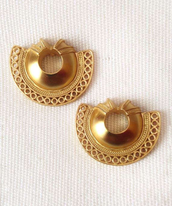 Pre Columbian Gold Plated Semi Moon Earrings by INTIMALENA on Etsy