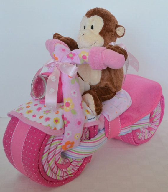 Motorcycle Bike Diaper Cake Baby Cake Giraffe by arizonababycakes