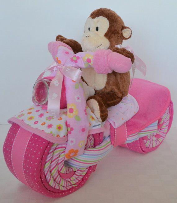 Motorcycle Bike Diaper Cake Baby Cake Giraffe by arizonababycakes