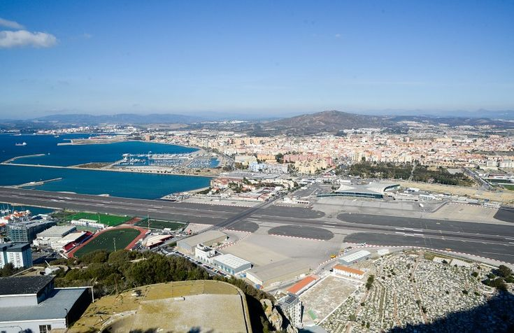 Road crossing active runway of Gibraltar airport