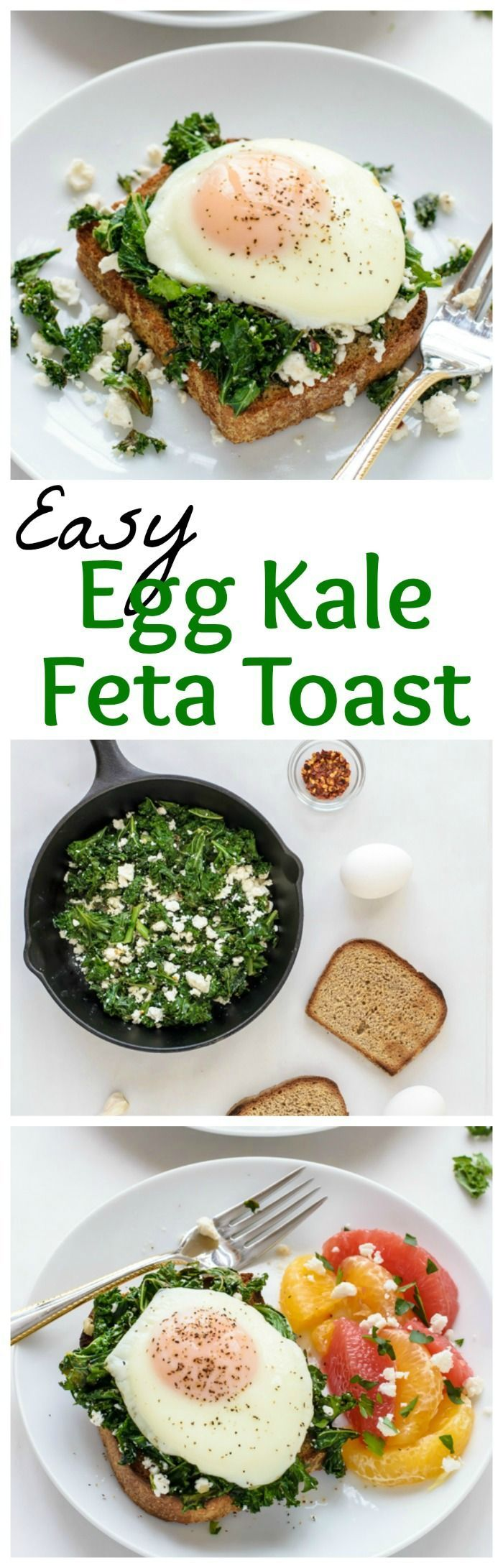 An easy, healthy dinner that is DELICIOUS. Creamy Kale Feta Toast with a Fried Egg. (Baking Bread Lights)
