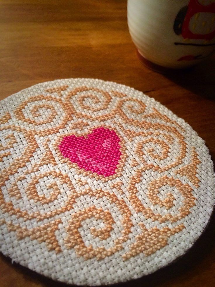 Ruby heart cookie coaster by BobbieStitches on Etsy https://www.etsy.com/listing/255199077/ruby-heart-cookie-coaster