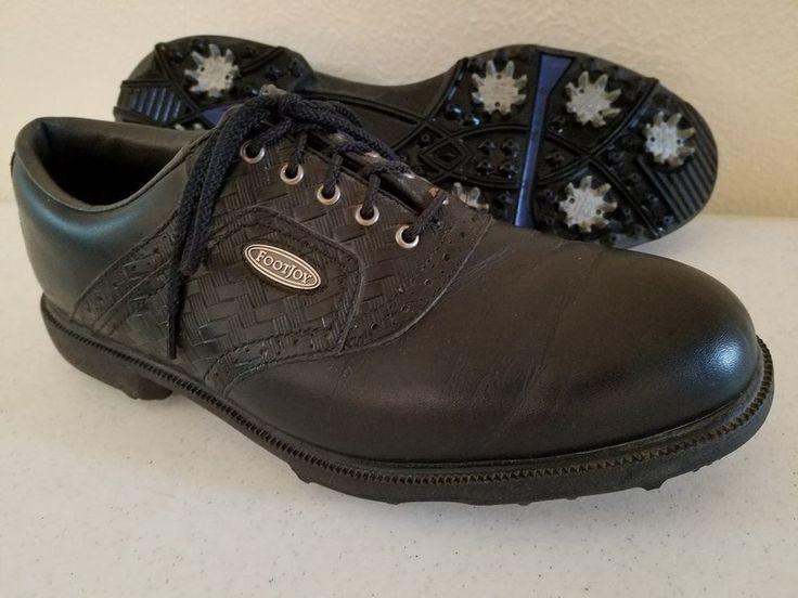 Men's FootJoy Black Saddle Weaved Golf Shoes 9.5 M Soft Spikes Soft Heel Insert #FootJoy #Black #Saddle #Weaved #Golf #Shoes #9.5M #SoftSpikes #SoftHeelInsert