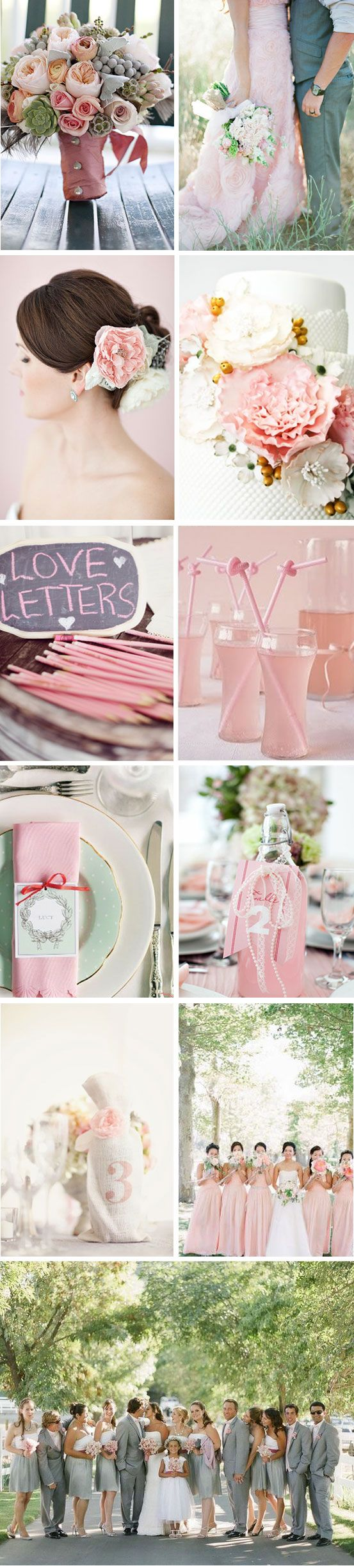 pink!Wedding Inspiration, Lights Pink And White Wedding, Pastel Pink, Pale Pink, Pink And Green Wedding Cake, Lights Grey And Pink Wedding, Romantic Weddings, Lights Pink Green Grey Wedding, Pink Grey