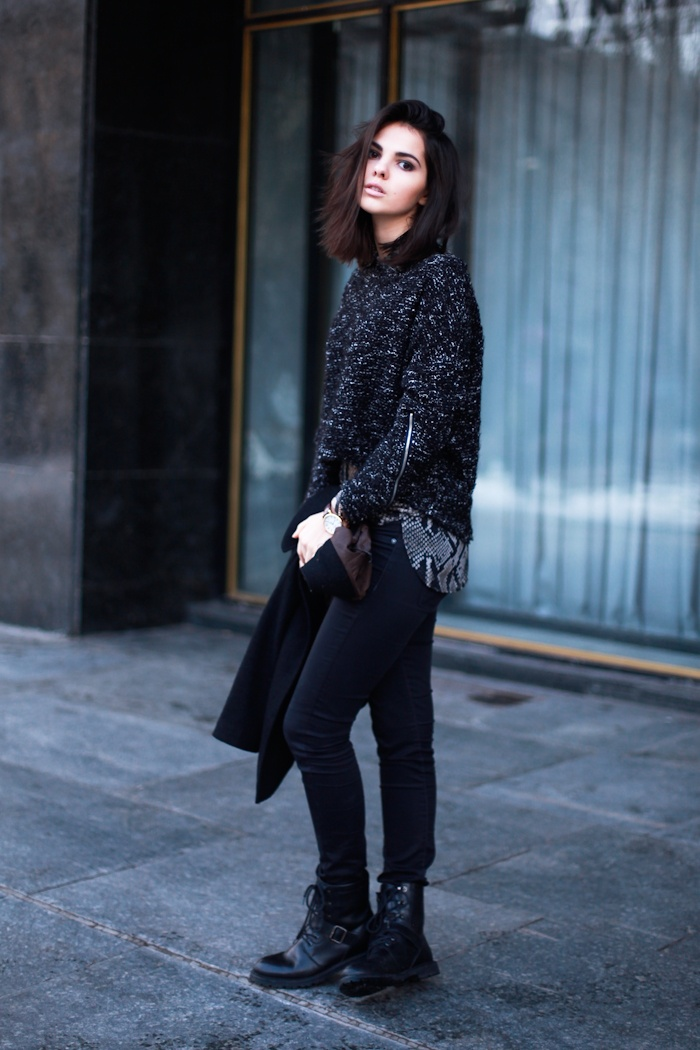 Black casual outfit #style #fashion #bobhair #hairstyle