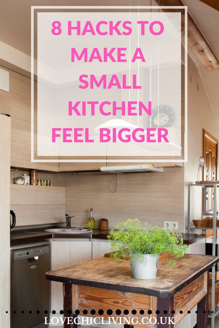 If your kitchen feels too small, here are 8 absolutely essential hacks to help that small kitchen feel bigger. Increase the space you have and use in your kitchen simply by using some of these easy hacks for any kitchen space.