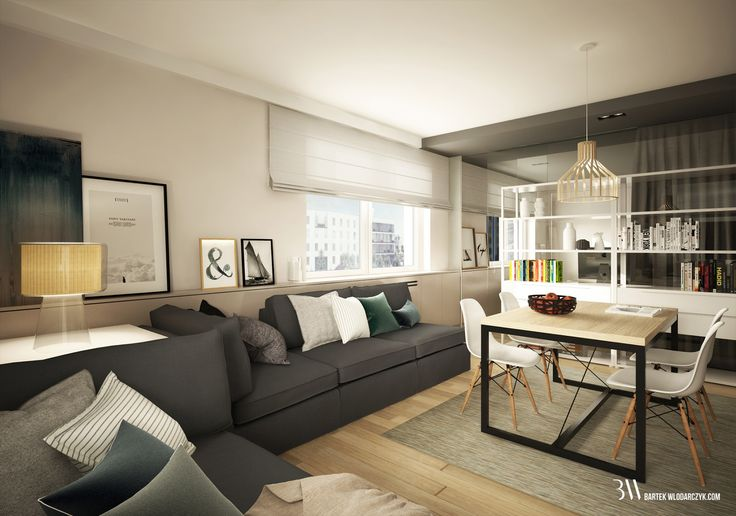 Apartament na osiedlu WIlno. Aranżacja salonu z kultowymi krzesłami Eames DSW. www.bartekwlodarczyk.com