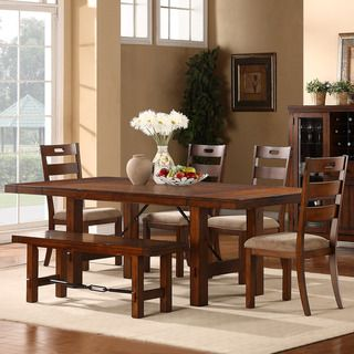 tribecca home swindon rustic oak turnbuckle 6piece dining set overstock shopping - Rustic Dining Set