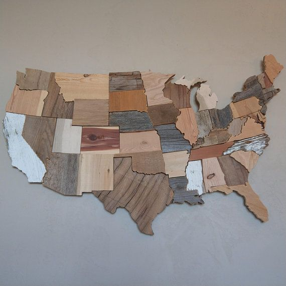 Rustic Reclaimed Wood Was Used To Make This Contiguous Usa Map Wall Art Using Pallet Barn Drift And Other Map Wall Art Rustic Wall Art Rustic Reclaimed Wood