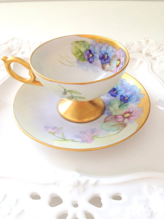 Vintage Footed Signed by Artist Hand Painted Porcelain Teacup and Saucer Duo Gifts for Her 1965