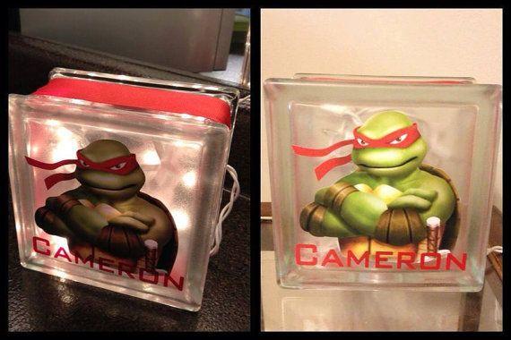 Ninja Turtle Raphael Glass Block Night light