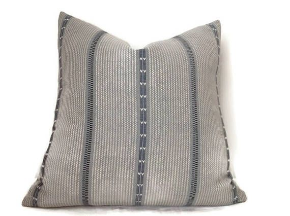 Zak and Fox Poncho Pillow Cover in Picchu Blue Stripe Pillow