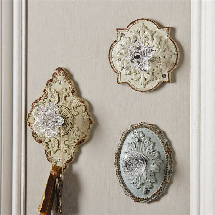Crystal Door Knob Wall Hook with Vintage Antique Finish Assorted 3…
