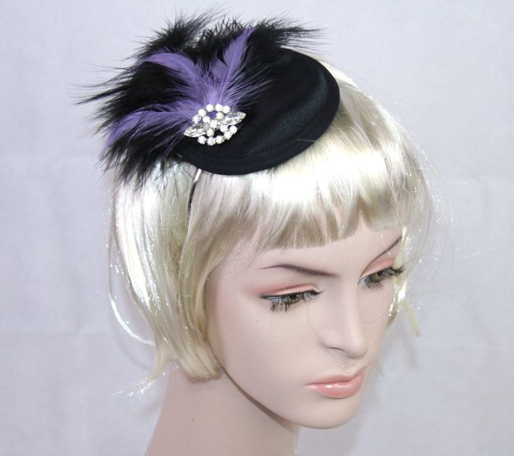 Black Cocktail Hat Fascinator Lilac Feather Vintage For Races