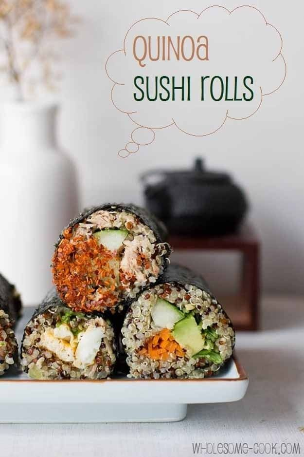 Quinoa Sushi- this sounds like the quinoa will not stick as well as the sushi rice. Though I may try it later just to out the fillings.