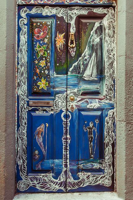 Rua de Santa Maria by Dmitri Korobtsov, via FlickrFrom Santa, Portugal Timber, Blue Doors, Painting Doors, Front Doors, Beautiful Doors, Rua De, Santa Maria, Doors Art