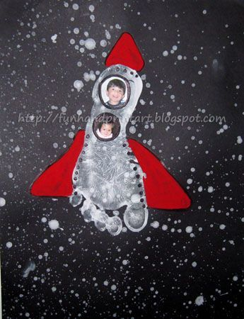 Blast off into outer space with this fun Footprint Rocket Craft - Photo Keepsake