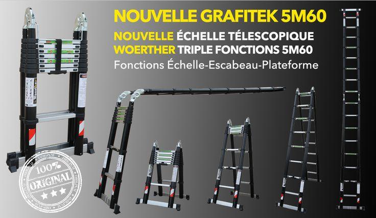 Échelle 5M60 GRAFITEK !!! Simplifiez vous la vie!! #bricolage #échelle #télescopique