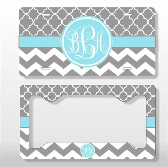 Monogram License Plate with Matching Key Chain - Personalized ...