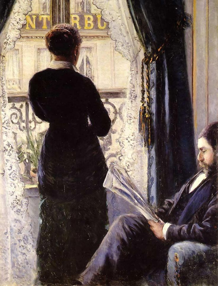 Interior, Woman at the Window (1880). Gustave Caillebotte(French, Impressionism, 1848-1894). Oil oncanvas. Caillebotte depicts a couple. The husband has been identified as Richard Gallo.There is speculation about the female identity. Perhaps it is Caillebotte's mistress, his friend, or the young lady that he lived with in Petit Gennevilliers.