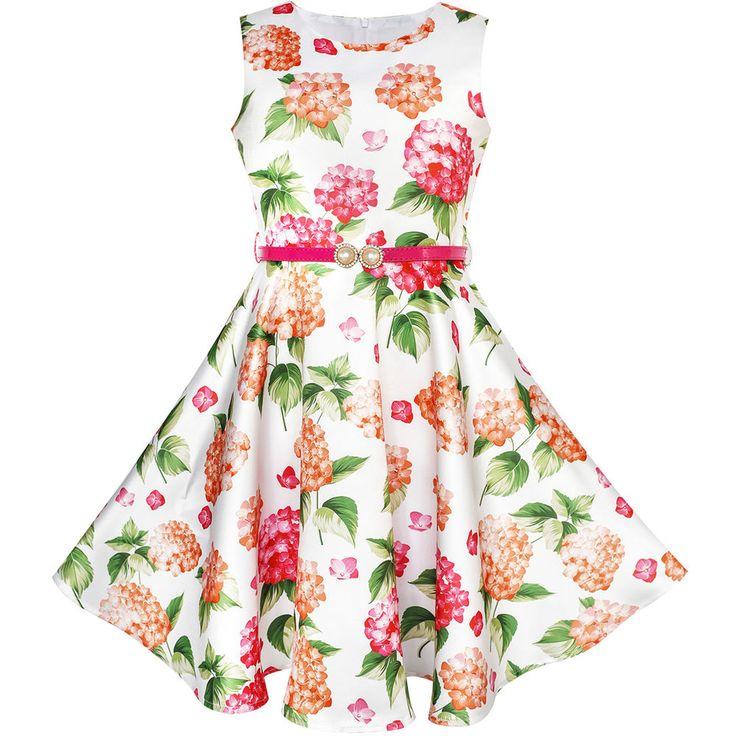 Sunny Fashion Robe Fille Fleur Rouge Ceinture Flore Princesse Robe D'été