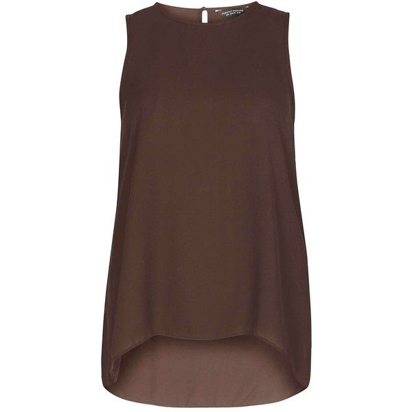 Dorothy Perkins Chocolate Dip Back Shell Top (€19) ❤ liked on Polyvore featuring tops, brown, shell tops, dorothy perkins, brown tank top, brown tops and chocolate brown tank top