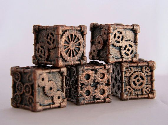 3-D printed Steampunk dice Here's the perfect gift for whoever loves steampunk tabletop games in your life. $11.50