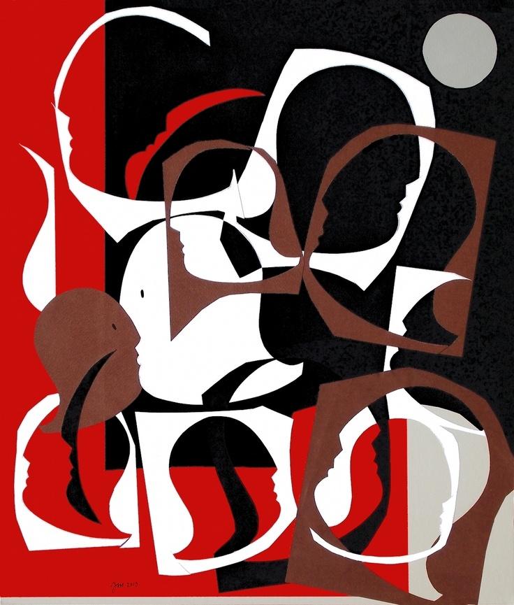 """andrea mattiello """"L'orgia""""  collage su cartone vegetale, cm 44x50,5; 2013 #arte #art #artecontemporanea #artista #artistaemergente #creatoredimmagini #tecnicamista #carta #paper #collage"""