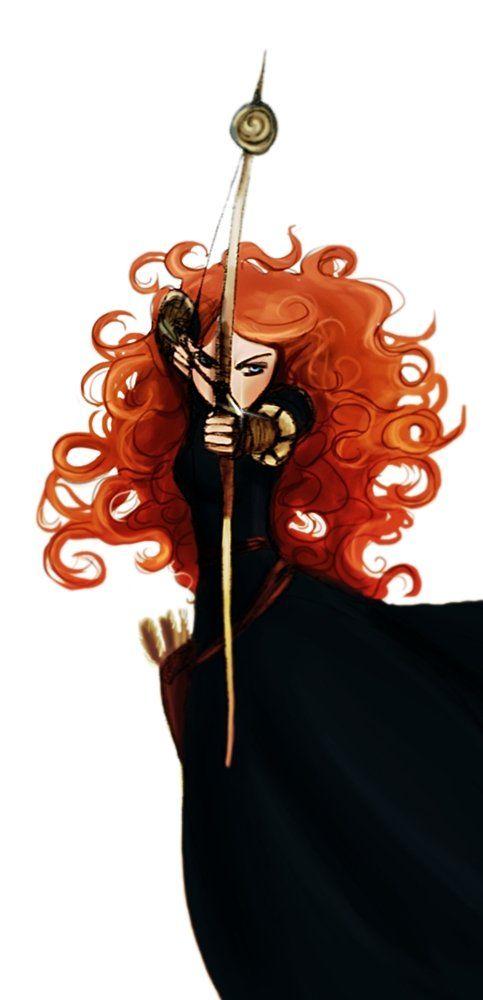 Dark Merida: This interpretation is a lot darker and more dangerous than the Pixar character. Illustration by Arbetta