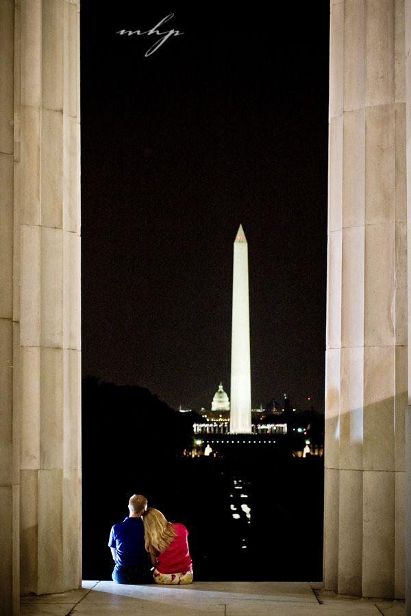 Washington DC destination engagement shoot.  Viewing the Washington Monument at night.  http://markhawkinsphoto.com