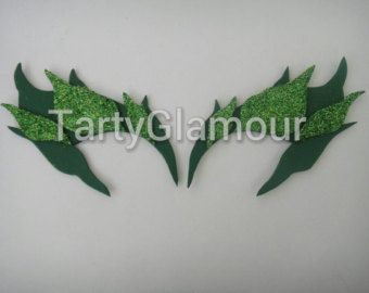 Poison Ivy Eyebrows Shaded with Glitter Leaves by TartyGlamour