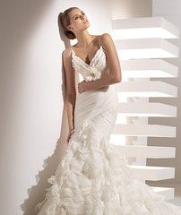 Pronovias Galante V-neck Textured Trumpet Wedding Dress