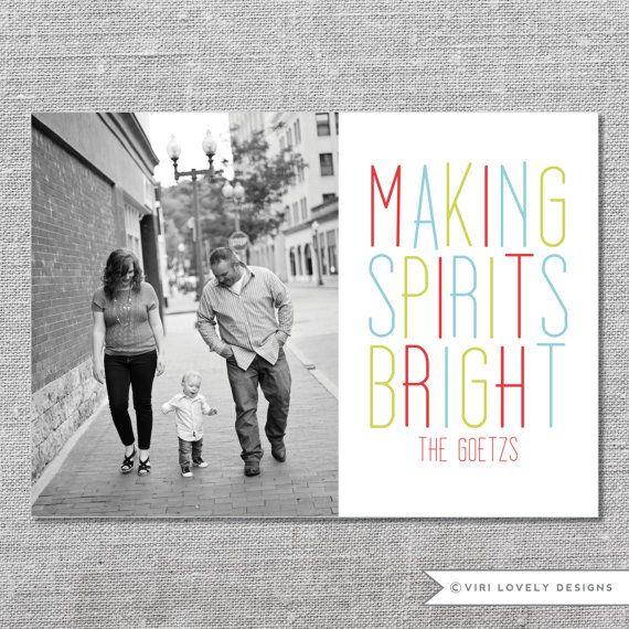 Photo Holiday Card | Printable | Making Spirits Bright | Christmas