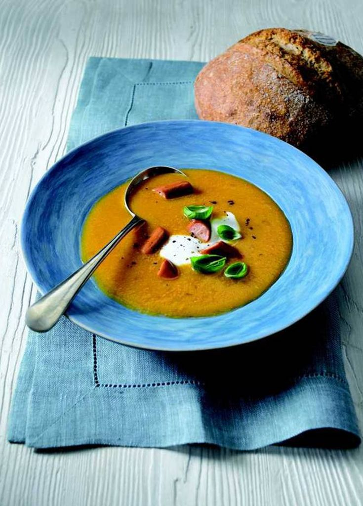 Butternut Squash and Frankfurter Soup - Butternut Squash soup made all the heartier with Frankfurters...