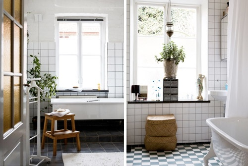 black white tile - wood accessories , green plants.  bingo. that's how it's done :): Interior, Bathroom Inspiration, Black And White, White Tiles, Black White, White Bathrooms, Bathroom Ideas, Black Grout Bathroom