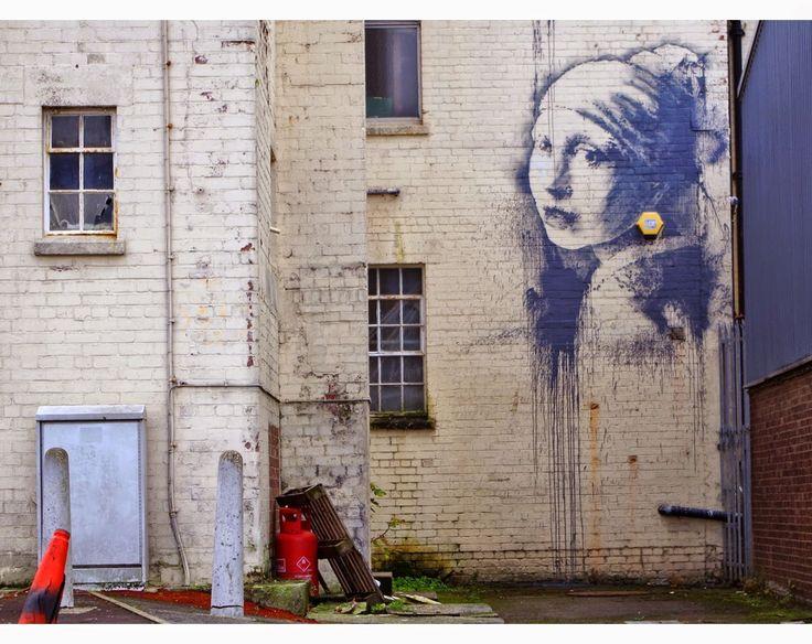 """Banksy returns: """"The girl with pierced eardrum"""" based on Vermeer, Bristol (UK) 2014"""