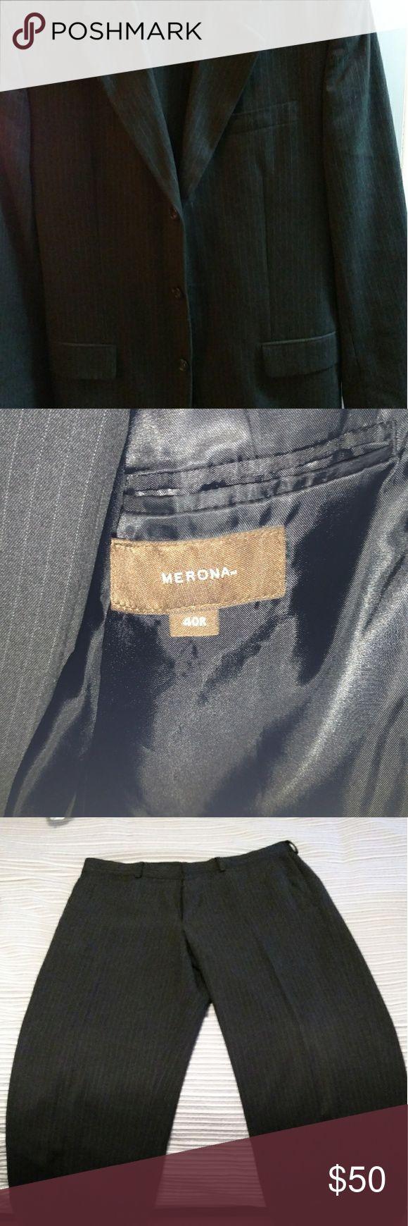 Merona 2 piece suit Nice condition grey pinstripe suit Merona Suits & Blazers Suits