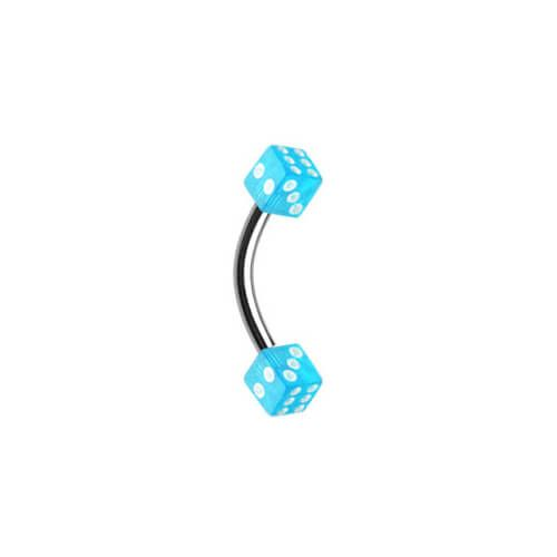Surgical Steel Banana with Light Blue Acrylic Dices - Pierce of Mind