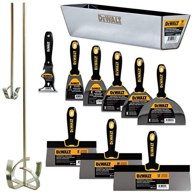 Dewalt Deluxe Stainless Hand Tool Set 8 10 12 Taping Knives 3 4 5 6 8 Putty Knives 2 Mud Mixers 9 In 1 Painter S Multito Hand Tool Set Dewalt Hand Tools