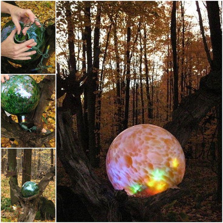 DIY Lighted Garden Gazing Ball Mounted in an Old Log