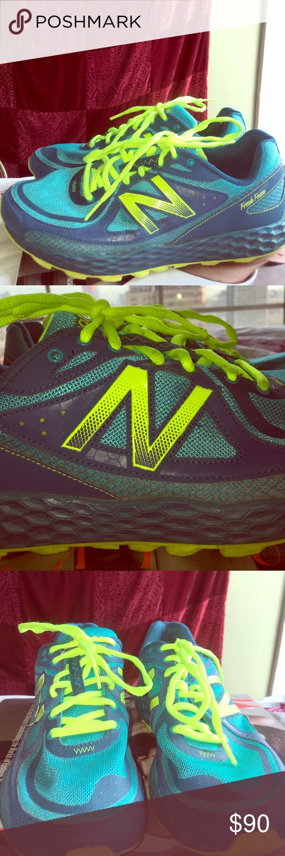 New Balance Fresh Foam running shoes Blue and neon green New Balance fresh foam padded insoles with mesh breathable material on top. Only worn twice New Balance Shoes Athletic Shoes