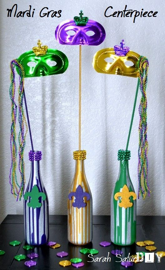Mardi-Gras Wine bottles! Oh the parties!!!!