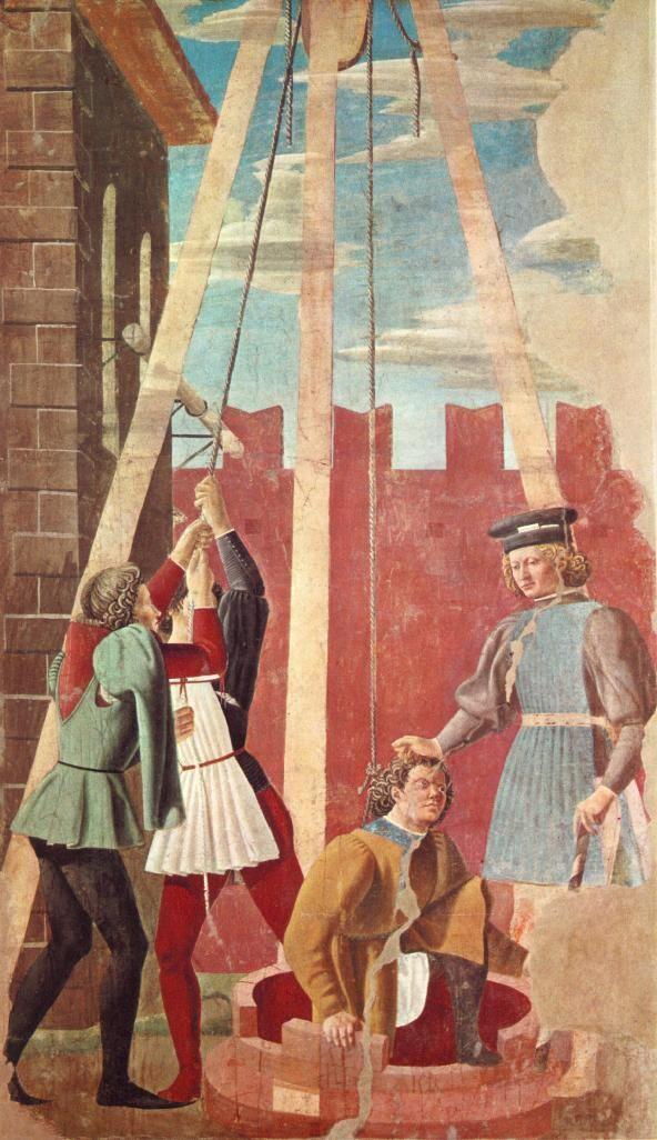 Piero della Francesca - Storie della Vera Croce: Tortura dell'ebreo - affresco - 1452-1466 - Arezzo, Basilica di San Francesco, Cappella Maggiore