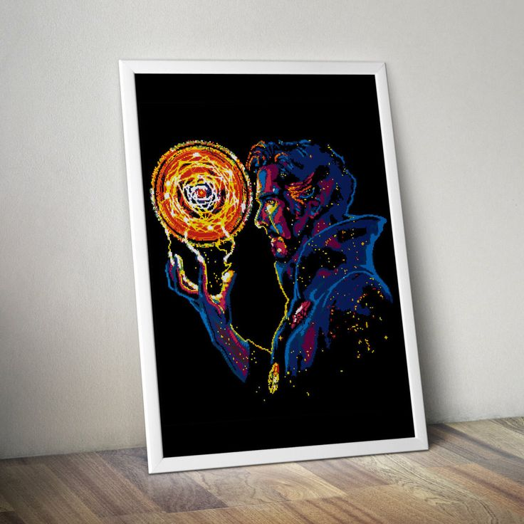 Doctor Strange Dr. Stephen Vincent Strange Marvel Comics Superhero New Avengers Illuminati Cross stitch PDF pattern Instant digital download by Up2XStitch on Etsy https://www.etsy.com/listing/460758984/doctor-strange-dr-stephen-vincent