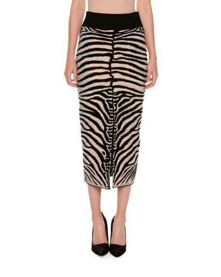 STELLA MCCARTNEY Zebra-Print Slim Slit-Back Skirt, Multicolor, Multicolors. #stellamccartney #cloth #